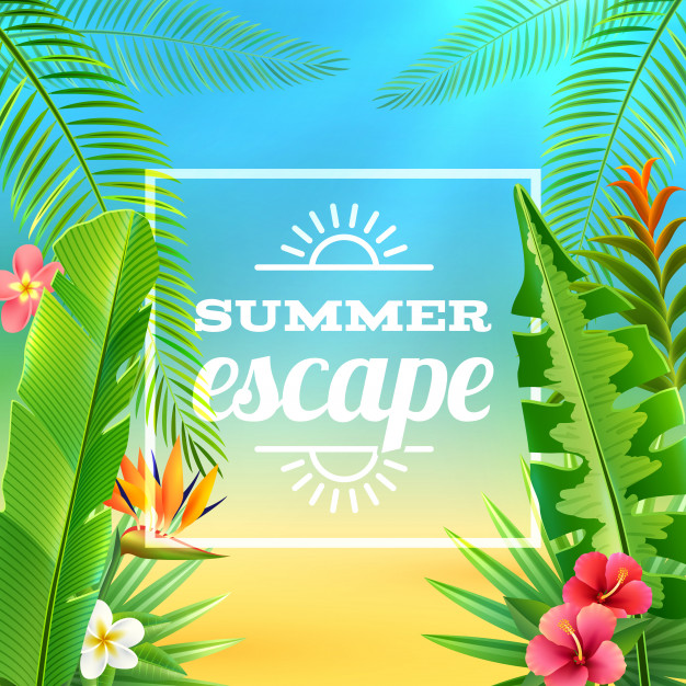 Tropical Plants Background Free Vector