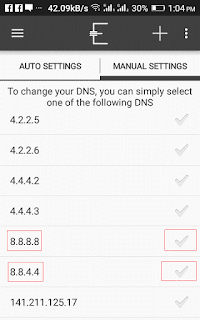 change DNS server of android
