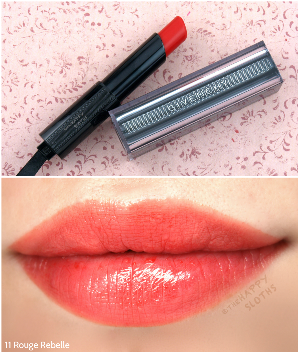 Givenchy Rouge Interdit Vinyl Color Enhancing Lipstick 11 Rouge Rebelle Review and Swatches