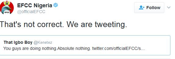 EFCC tweeter And A Twitter Follower.