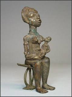 Akan brass maternity figure on stool