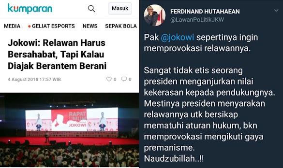 Jokowi: Relawan Kalau Diajak Berantem Berani, Begini Tanggapan Politisi Demokrat