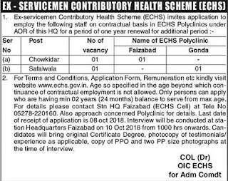 ECHS Vacancy in UP 2019 Chowkidar Safaiwala
