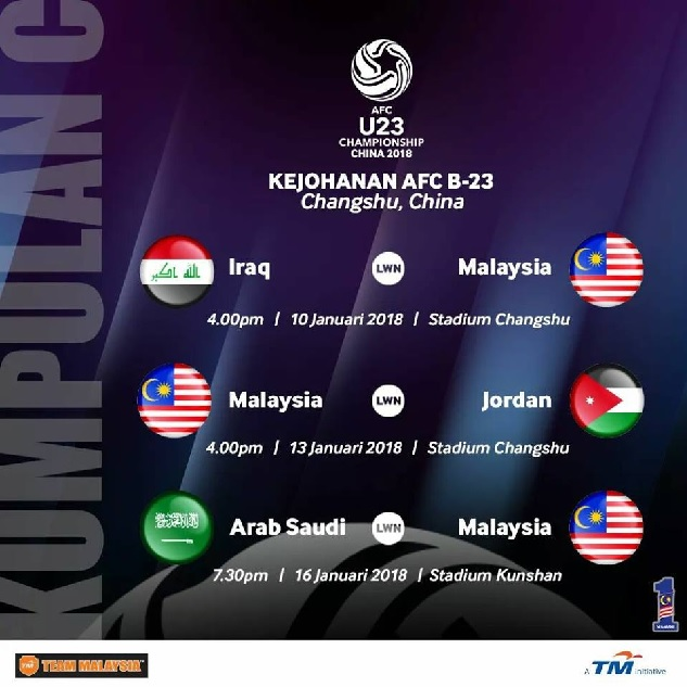 jadual siaran langsung Bolasepak AFC B23 Asia China 2018