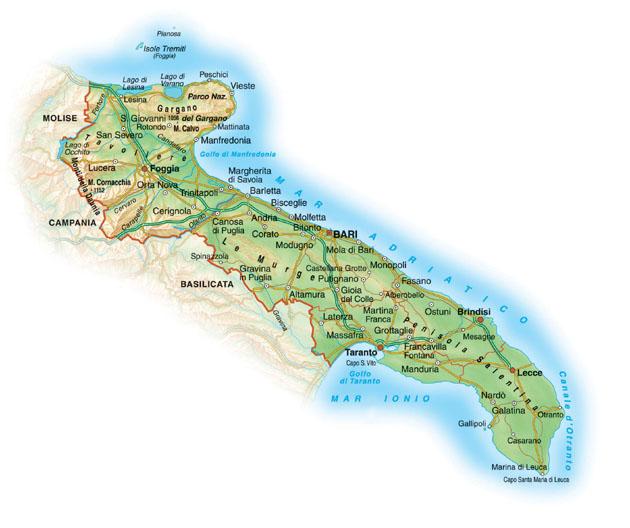 Cartina Puglia Fisica E Politica.Guida Di Viaggio Puglia