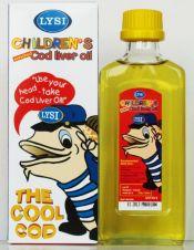 poza cu sticla si cutia uleiului din ficat de cod destinat copiilor marca Lysi ulei de peste islandez pur