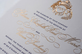 Shine and Gold Letterpress Wedding Invitations