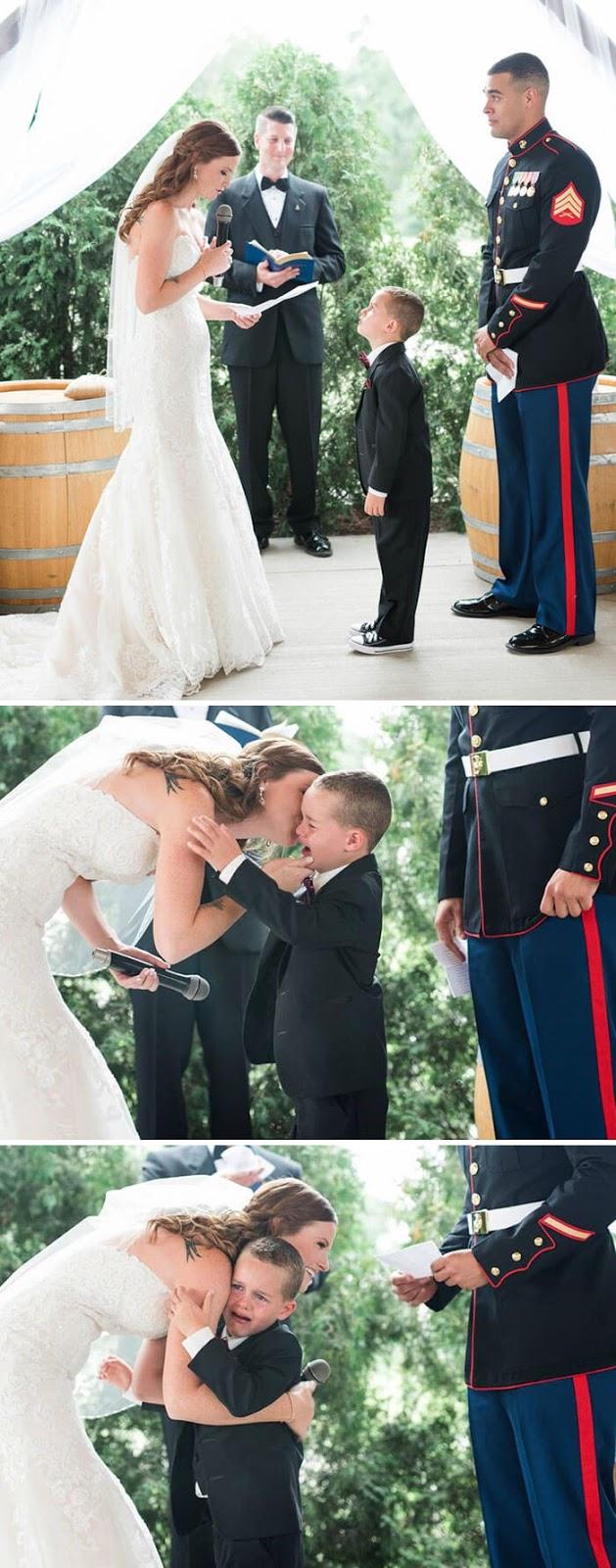 30 Heartwarming Photos That Restored Our Faith In Humanity - 'Life Gave Me The Gift Of You' - Marine's 4-Year-Old Son Cries Tears Of Joy After Hearing New Step-Mom's Vows For Him