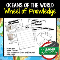 Oceans of the World Activity, World Geography Activity, World Geography Interactive Notebook, World Geography Wheel of Knowledge (Interactive Notebook)