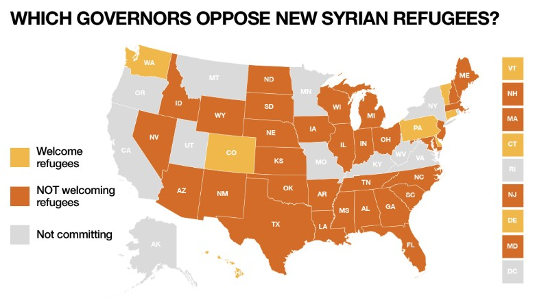 Which governors oppose new syrian refugees&