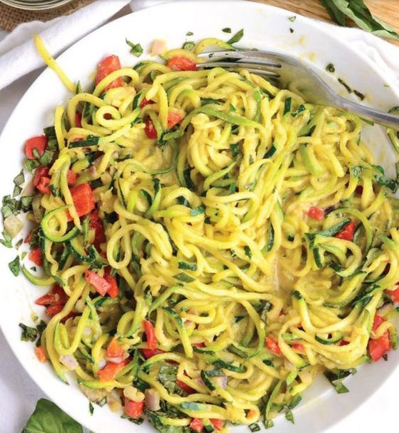 Low Carb 6 Ingredient Vegan Cheesy Zoodles