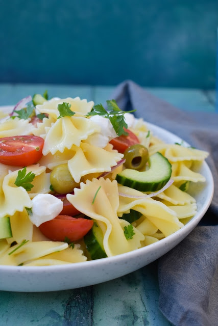 A bowl of Summer Greek Pasta Salad