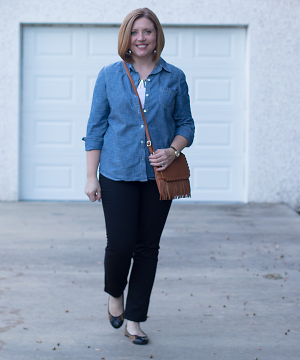 Chambray and black
