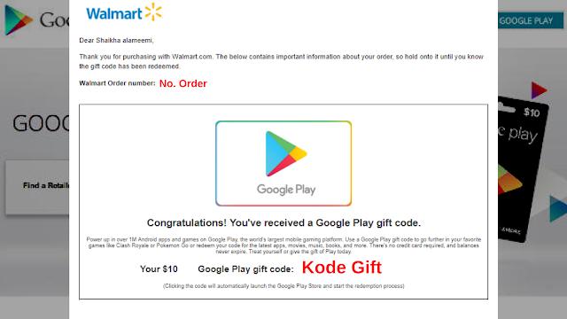 Cara CO GPC - Google Play Gift Card di Walmart