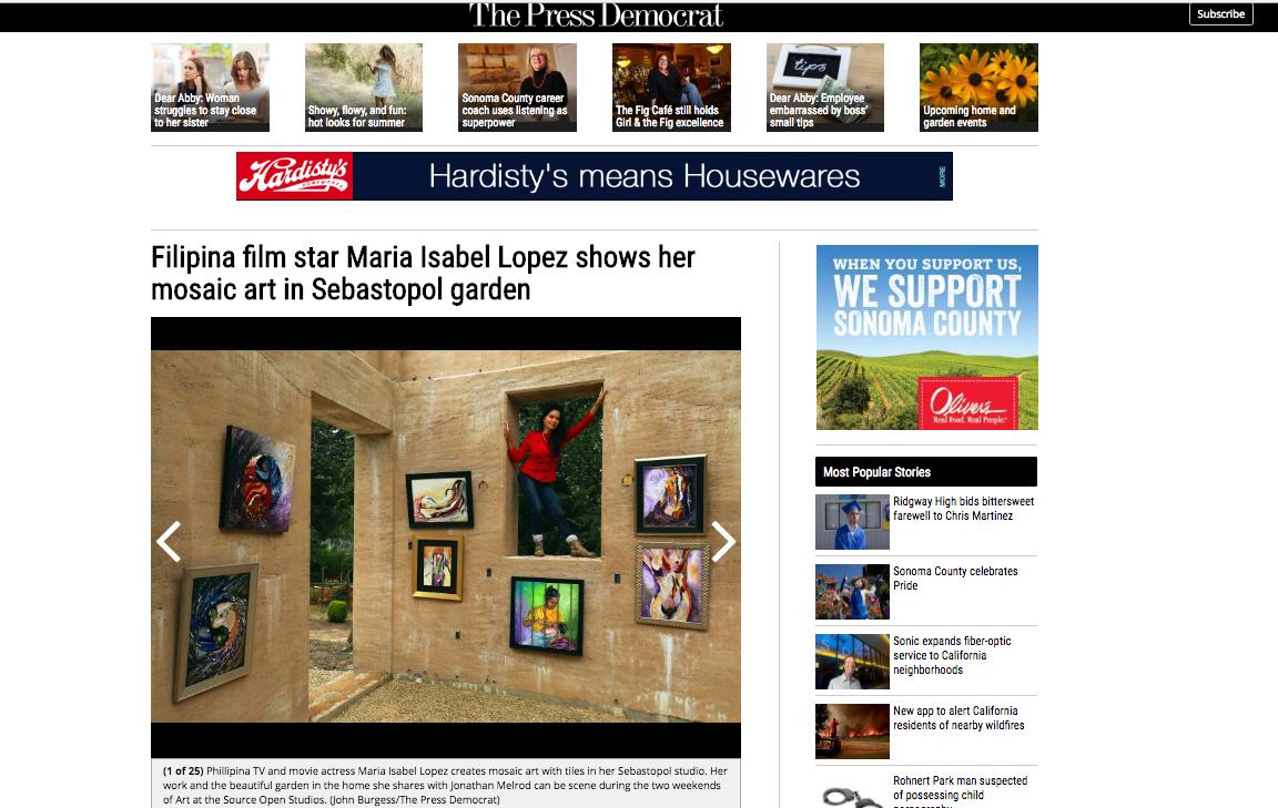 "maria isabel lopez mosaic art: press democrat ""art and the garden"