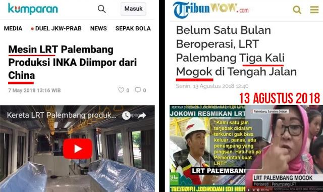 Baru Diresmikan Jokowi LRT Palembang Sudah 3X Mogok, Ternyata Mesin LRT Diimpor dari CHINA