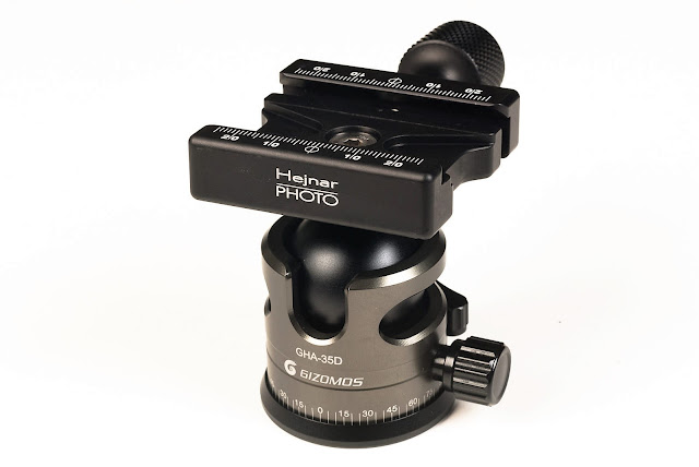 "Hejnar Photo 2.375"" QR Clamp on Gizomos GHA-35D ball head"