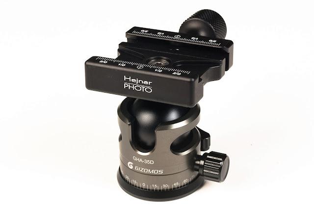 """Hejnar Photo 2.375"""" QR Clamp on Gizomos GHA-35D ball head"""