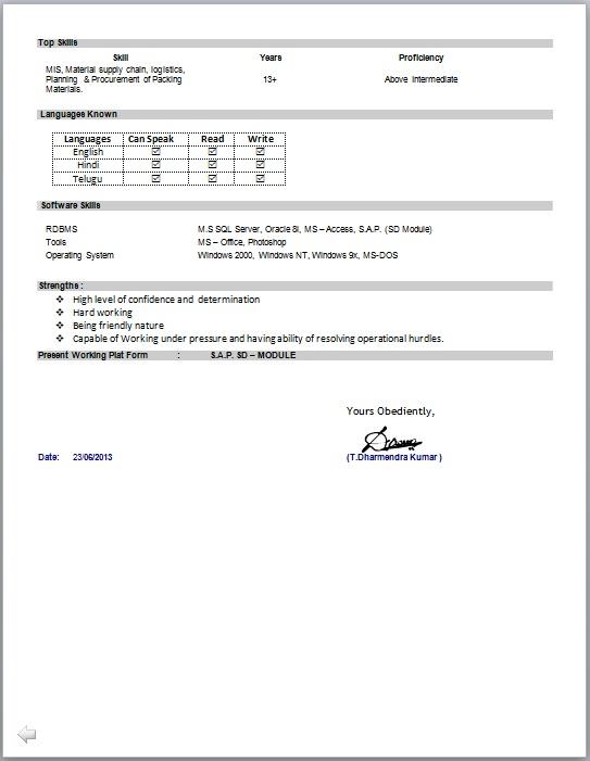 Mis Resume Format - Resume Template Ideas - mis officer sample resume