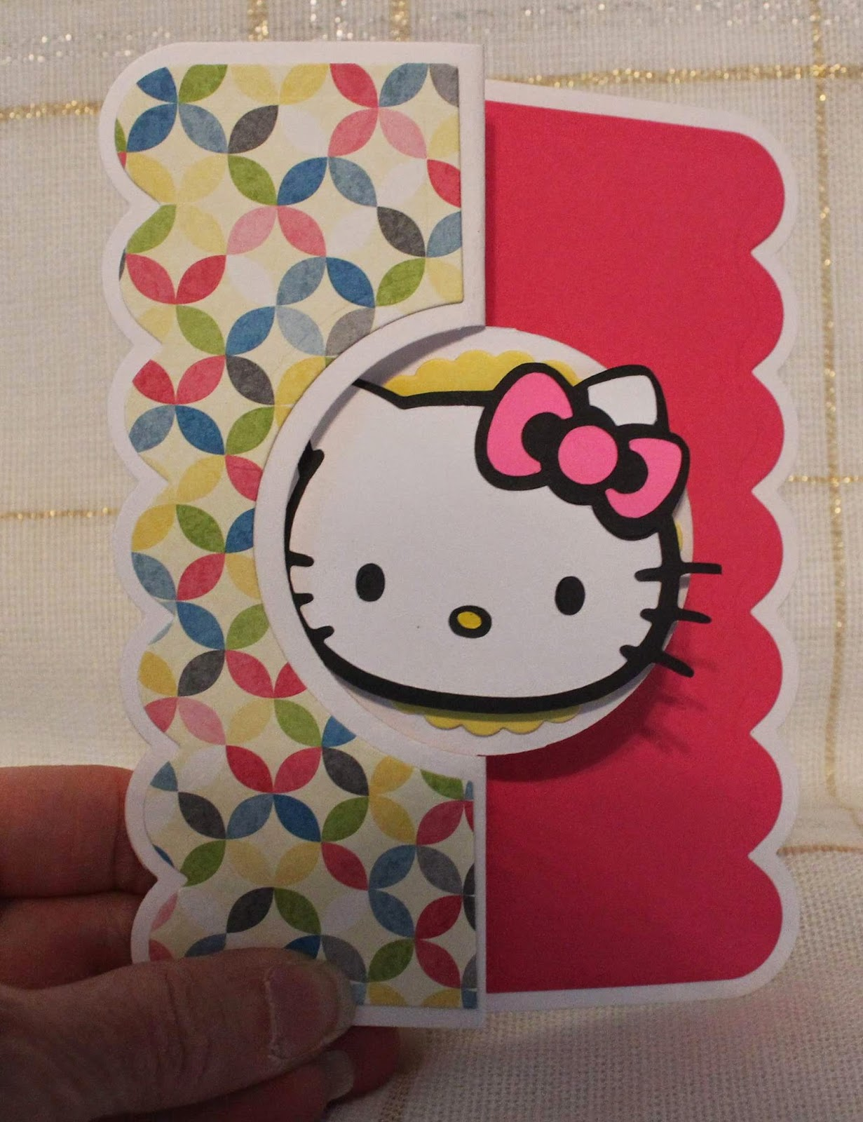 90cc98b83 Created this 3D card using Cricut cartidge Hello Kitty, Sizzix Stephanie  Barnard card die & Stampin' Up items (colors, cardstock & stamp).