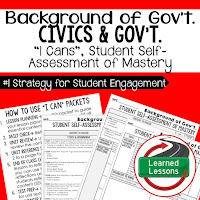 Background of Government, Civics and Government I Cans, Self-Assessment of Mastery, Student Ownership of Learning