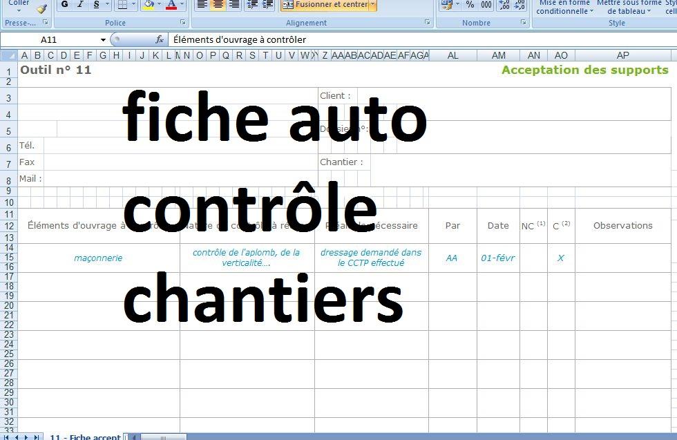 Fiche auto contr le chantiers b timent g nie civil outils livres exercice - Controle installation electrique ...