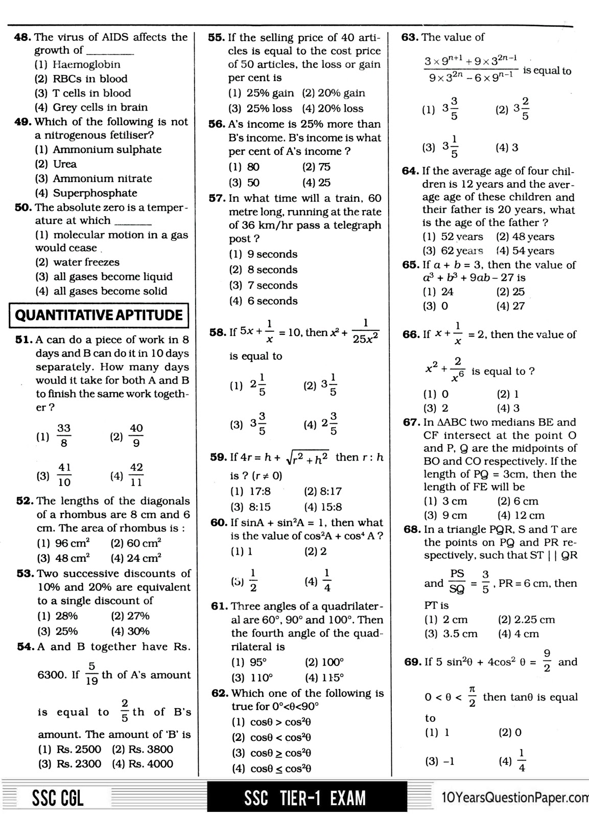 SSC 2017 CGL Question Paper