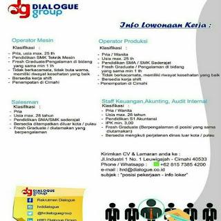 Lowongan Kerja PT Dialogue Group Cimahi Terbaru 2019