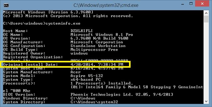 Cara Melihat Tanggal Instalasi Windows