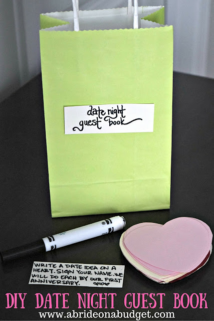 Looking for a unique wedding guest book idea? Check out this DIY Date Night Guest Book from www.abrideonabudget.com.