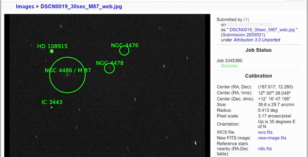 Astrometry of Nikon Coolpix image shows M87, center, left (Source: Palmia Observatory)