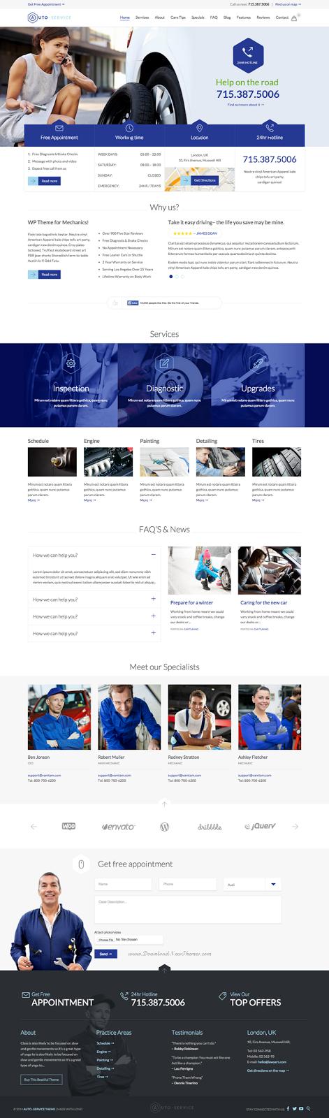 Auto Car Repair Shop Responsive WordPress Theme