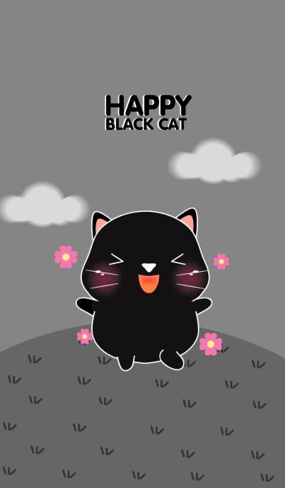 Happy Cute Black Cat Theme