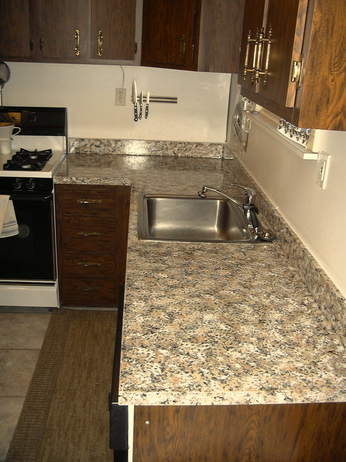 Great The Top Polyurethane Coats Gave The Countertop A Highly Glossy Finish.