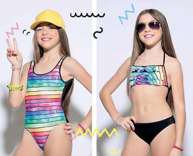 Mallas y bikinis 2018 para niñas. Moda en trajes de baño para nenas y adolescentes. Moda verano 2018.