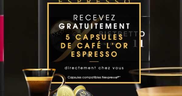5 Échantillons Gratuits de Capsules café l'OR Espresso
