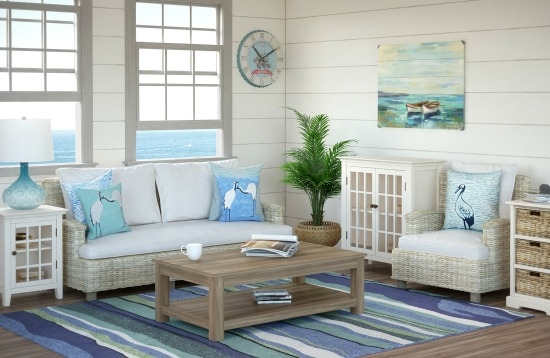 Beach Decor With White Wicker Sofa