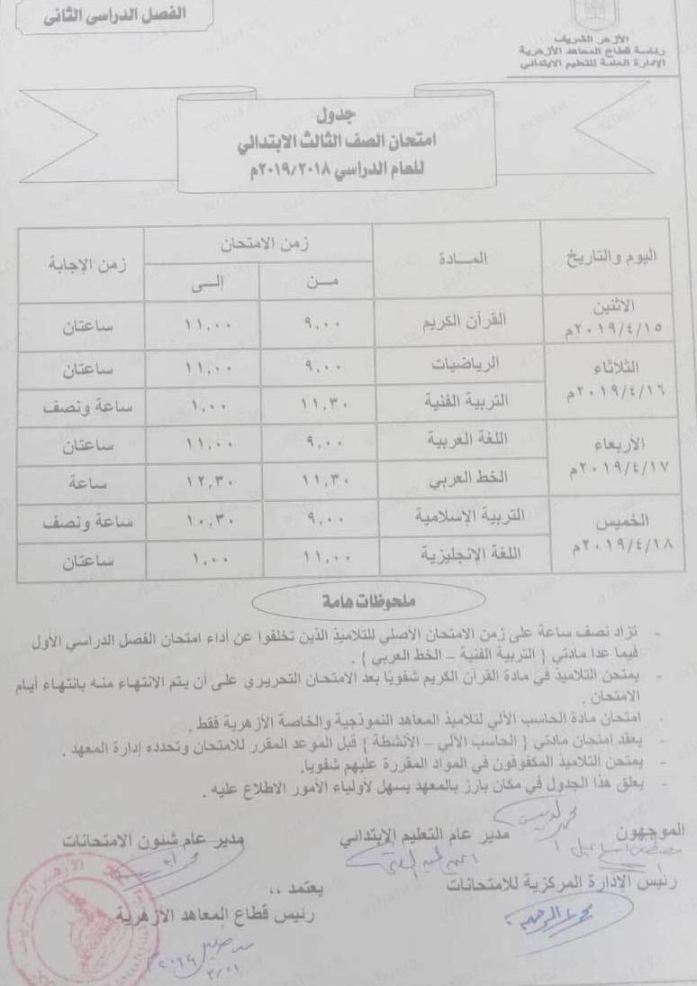 جدول امتحانات الصف الثالث الابتدائي ازهري 2019 ترم ثاني