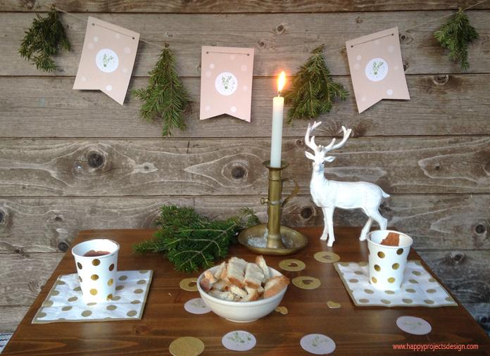 mesa navideña con renos