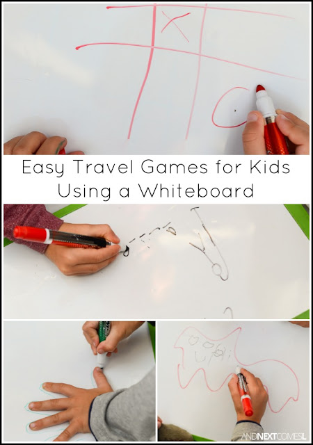 10 easy travel games for kids using a whiteboard from And Next Comes L