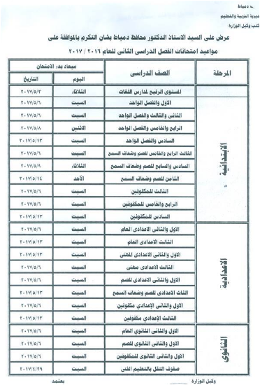 جدول مواعيد إمتحانات محافظة دمياط لجميع المراحل 2017 الترم الثانى (أخر العام)