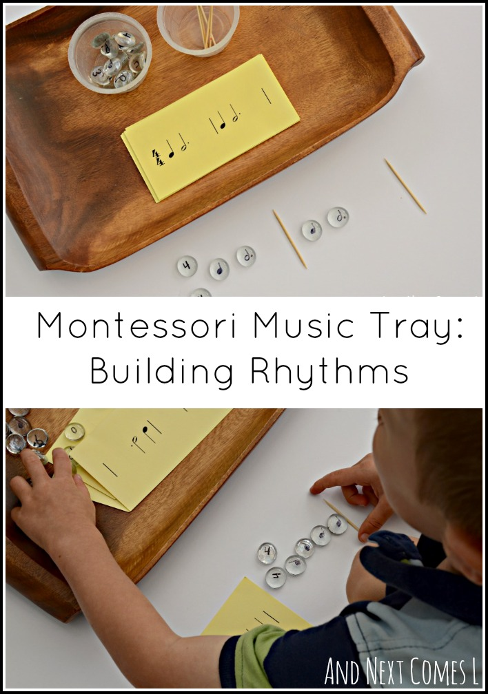 Building rhythms with a Montessori music theory activity from And Next Comes L