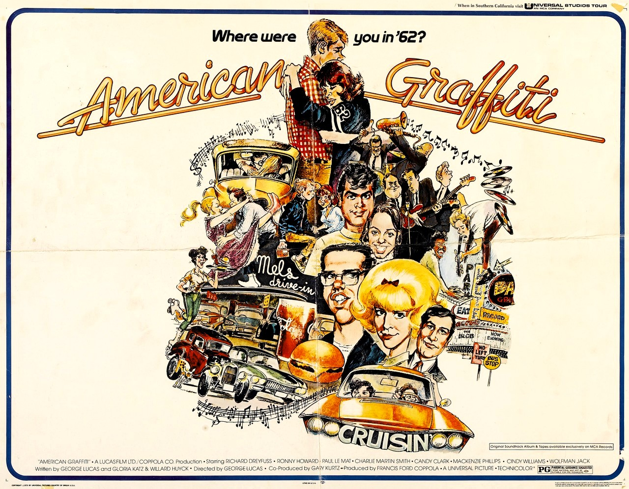 american graffit Today marks the 43rd anniversary of american graffiti, the greatest movie that  george lucas ever directed (fight me, nerds) and the best.