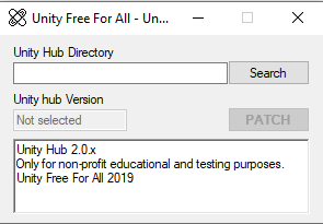 Interfaz de Unity Hub Crack