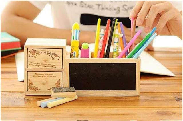 Wooden Desktop Pen Holder, Mini Chalkboard, Organizer