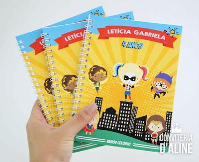 lembrança super heroínas caderno colorir
