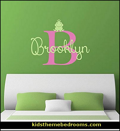 Custom Name Frog Nursery Wall Decal   frog theme bedrooms - frog bedroom decor - frog theme decor - frog themed gifts - froggy wallpaper frog murals - frog wall decals - frogs in a pond wall decor -  Frog Prince decor - pond theme decals - frog duvet set - decorating frog theme - frog theme for baby nursery - frog pond baby nursery