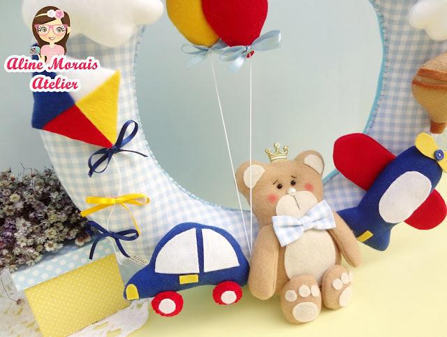 guirlanda porta maternidade enfeite  de maternidade de feltro urso príncipe avião carro pipa meios de transporte de feltro