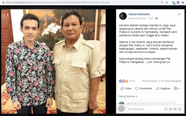 Penuturan Prabowo Kepada Gamal Albinsaid Bikin Netizen Terharu