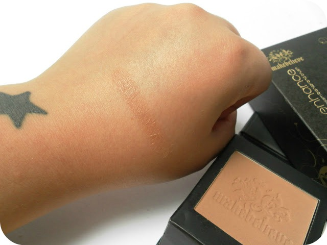 A picture of swatches of the Make Believe Sunbeam Bronzer